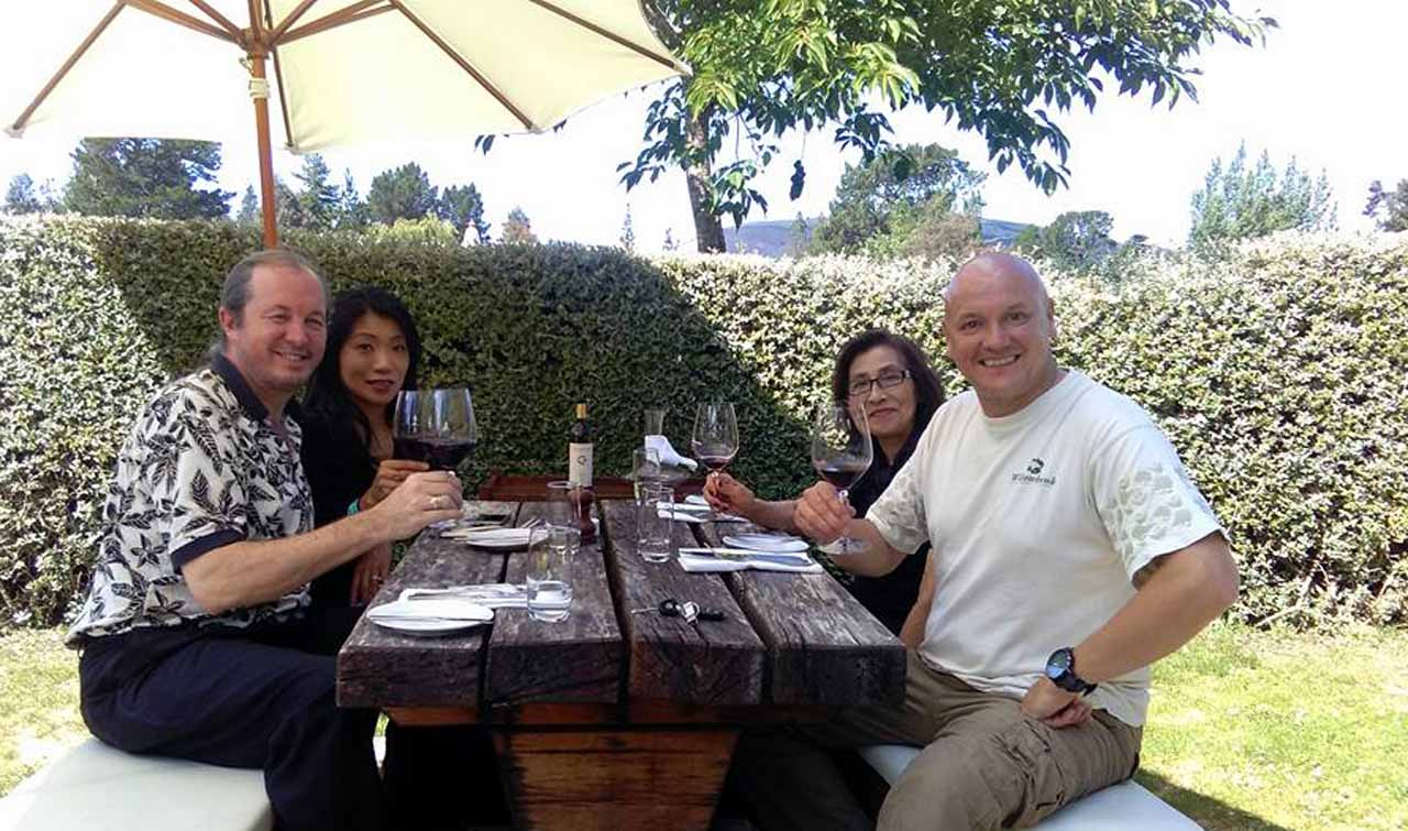 Steve and Group having a wine